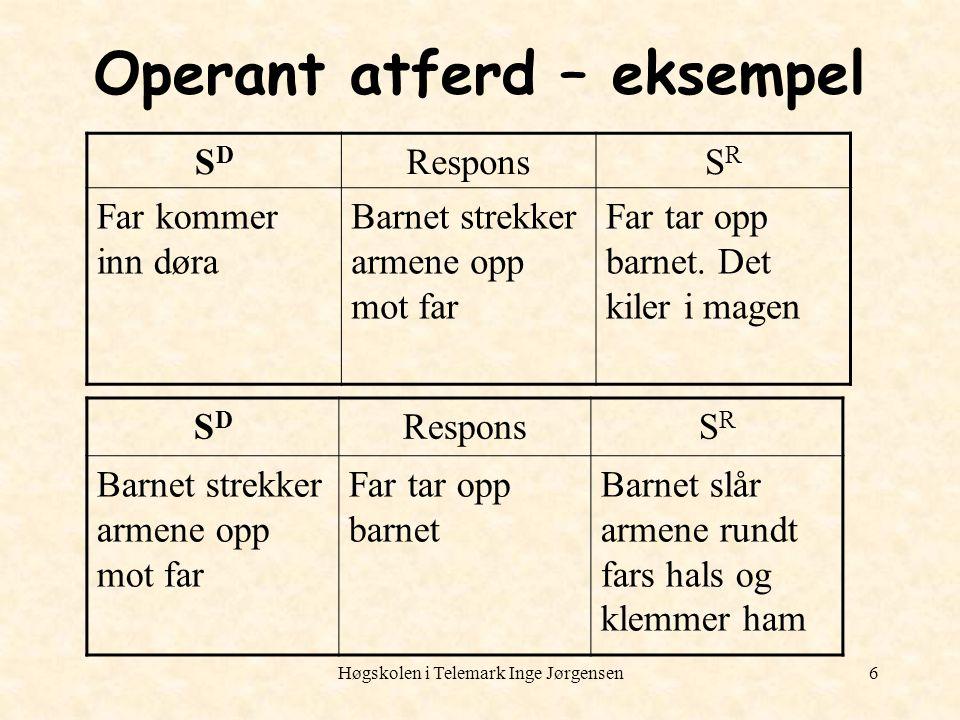 Høgskolen i Telemark Inge Jørgensen6 Operant atferd – eksempel SDSD ResponsSRSR Far kommer inn døra Barnet strekker armene opp mot far Far tar opp bar