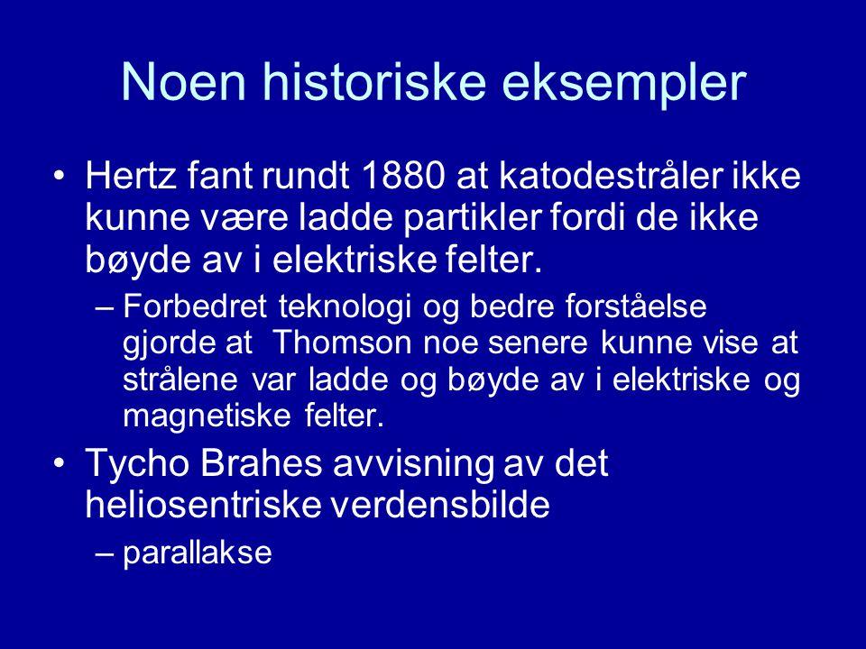 Noen historiske eksempler Hertz fant rundt 1880 at katodestråler ikke kunne være ladde partikler fordi de ikke bøyde av i elektriske felter. –Forbedre