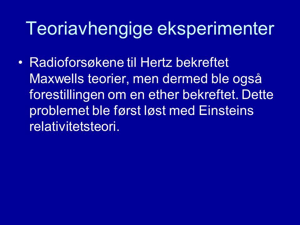 Teoriavhengige eksperimenter Radioforsøkene til Hertz bekreftet Maxwells teorier, men dermed ble også forestillingen om en ether bekreftet. Dette prob