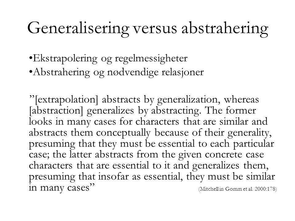Abstrahering Isolere ett aspekt ved et konkret fenomen – konstitutive elementer.