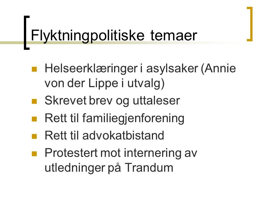 Flyktningpolitiske temaer Helseerklæringer i asylsaker (Annie von der Lippe i utvalg) Skrevet brev og uttaleser Rett til familiegjenforening Rett til advokatbistand Protestert mot internering av utledninger på Trandum