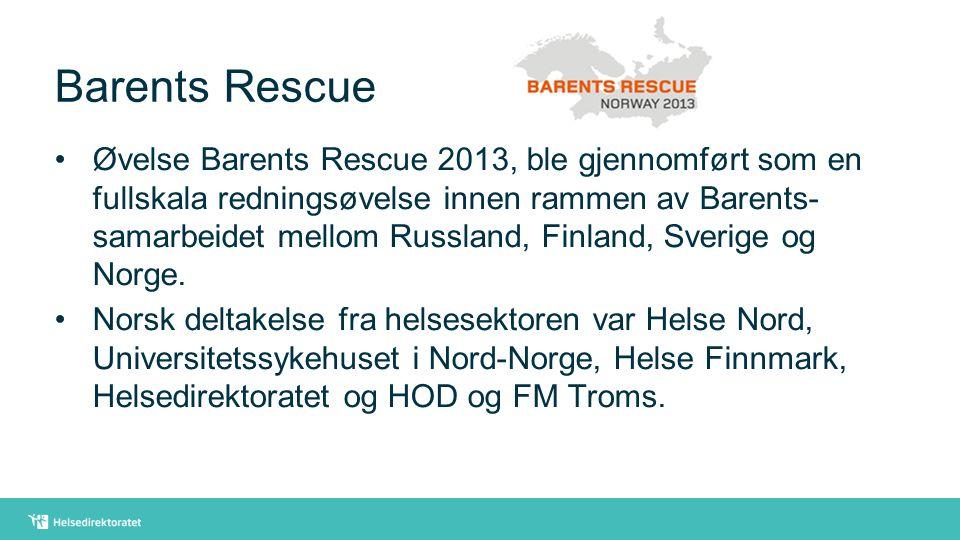 Barents Rescue Øvelse Barents Rescue 2013, ble gjennomført som en fullskala redningsøvelse innen rammen av Barents- samarbeidet mellom Russland, Finla