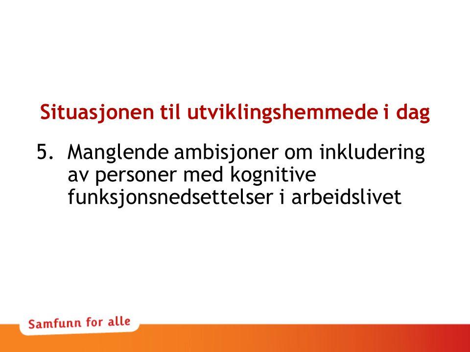 Situasjonen til utviklingshemmede i dag 5.Manglende ambisjoner om inkludering av personer med kognitive funksjonsnedsettelser i arbeidslivet