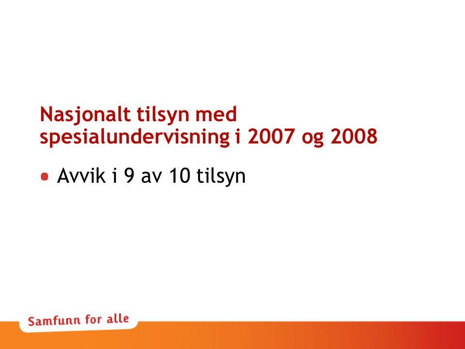 Nasjonalt tilsyn med spesialundervisning i 2007 og 2008 Avvik i 9 av 10 tilsyn