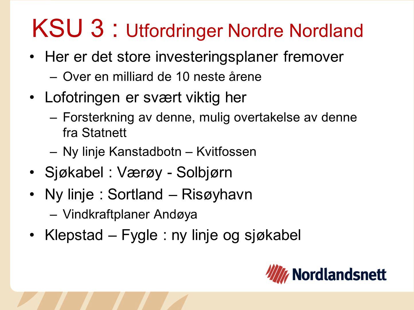 KSU 3 : Utfordringer Nordre Nordland Her er det store investeringsplaner fremover –Over en milliard de 10 neste årene Lofotringen er svært viktig her
