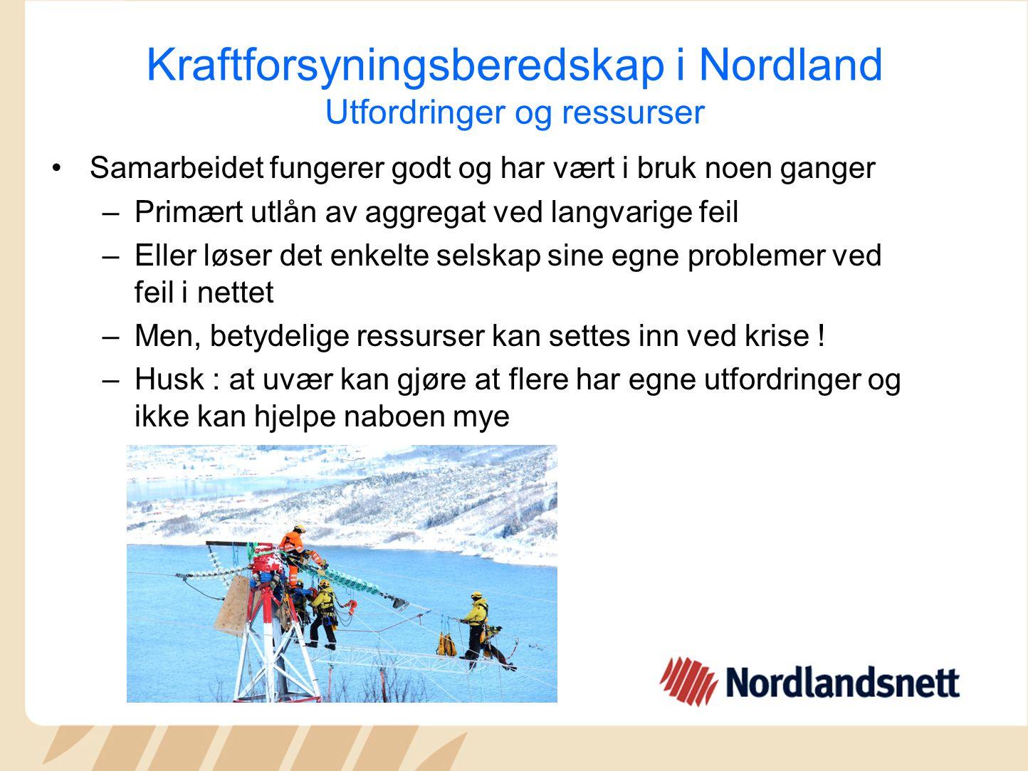 Kraftforsyningsberedskap i Nordland Utfordringer og ressurser Samarbeidet fungerer godt og har vært i bruk noen ganger –Primært utlån av aggregat ved