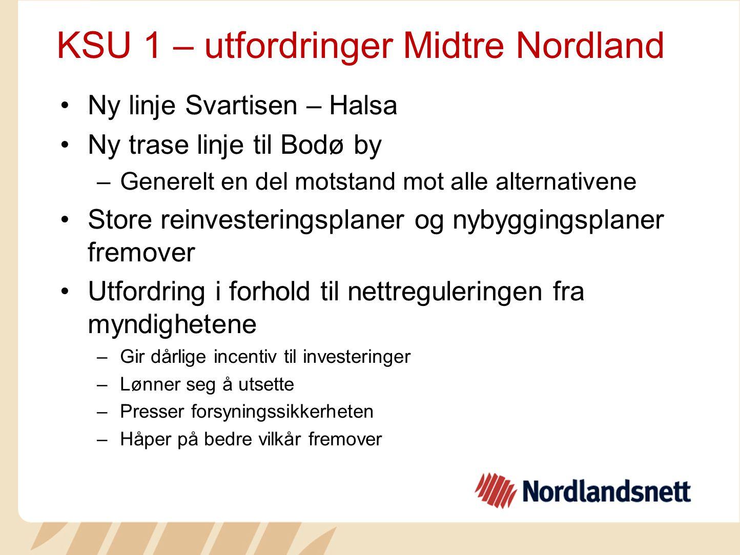 KSU 1 – utfordringer Midtre Nordland Ny linje Svartisen – Halsa Ny trase linje til Bodø by –Generelt en del motstand mot alle alternativene Store rein