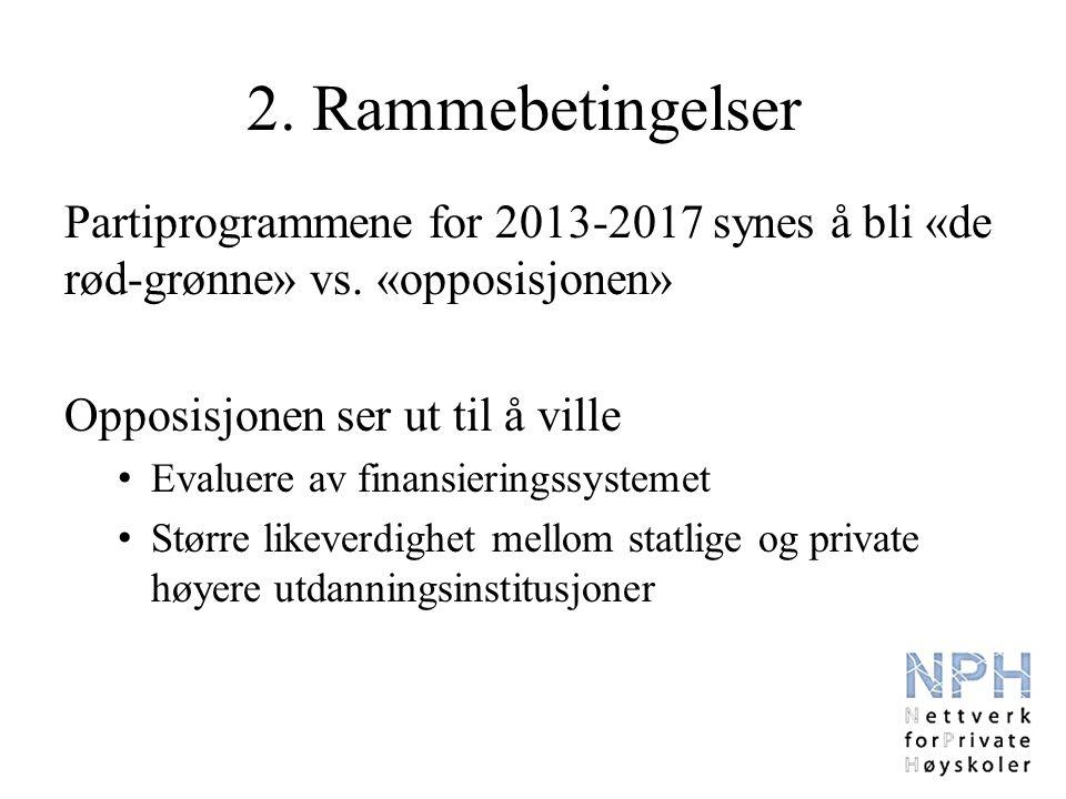 2. Rammebetingelser Partiprogrammene for 2013-2017 synes å bli «de rød-grønne» vs.