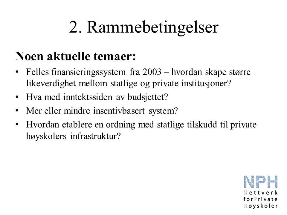 Noen aktuelle temaer: Felles finansieringssystem fra 2003 – hvordan skape større likeverdighet mellom statlige og private institusjoner.