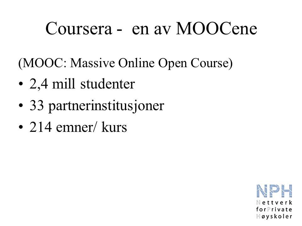 Coursera - en av MOOCene (MOOC: Massive Online Open Course) 2,4 mill studenter 33 partnerinstitusjoner 214 emner/ kurs