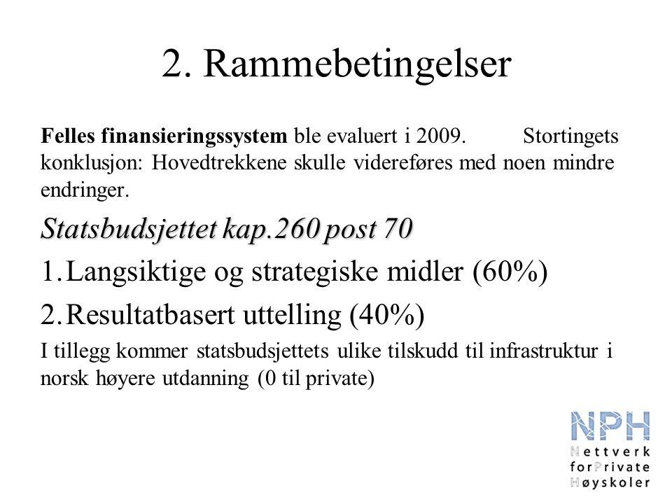 2. Rammebetingelser Felles finansieringssystem ble evaluert i 2009.