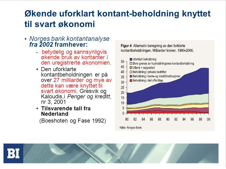 18 Økende uforklart kontant-beholdning knyttet til svart økonomi Norges bank kontantanalyse fra 2002 framhever: betydelig og sannsynligvis økende bruk