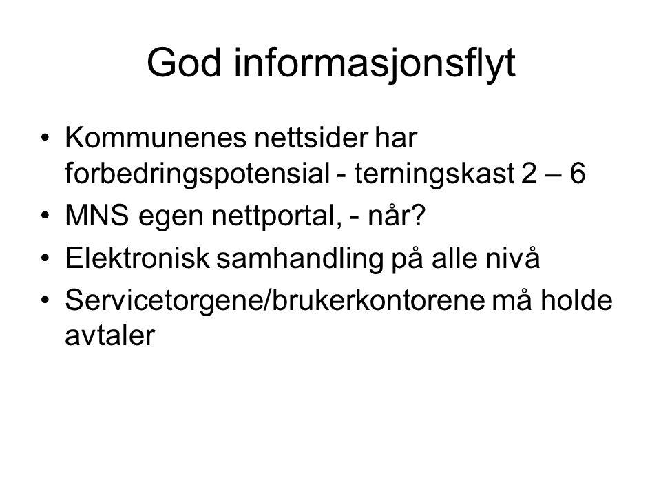 God informasjonsflyt Kommunenes nettsider har forbedringspotensial - terningskast 2 – 6 MNS egen nettportal, - når.