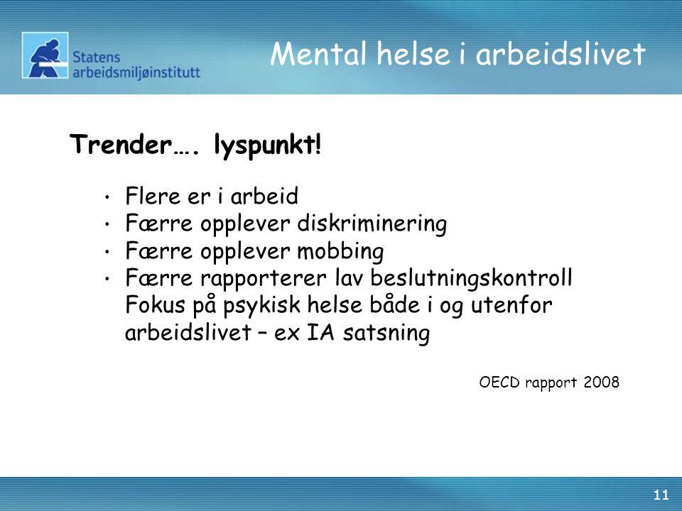 11 Mental helse i arbeidslivet Trender….lyspunkt.