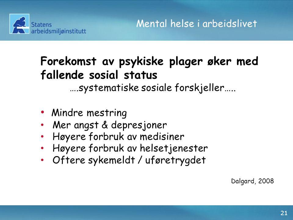Mental helse i arbeidslivet 21 Forekomst av psykiske plager øker med fallende sosial status ….systematiske sosiale forskjeller…..