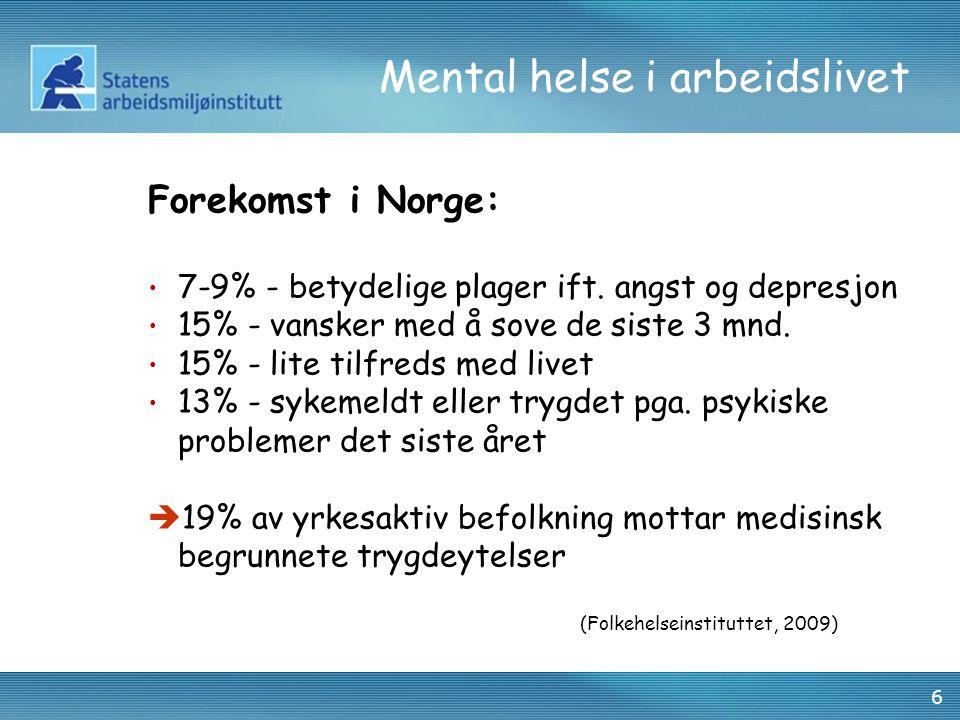 Mental helse i arbeidslivet Forekomst i Norge: 7-9% - betydelige plager ift.