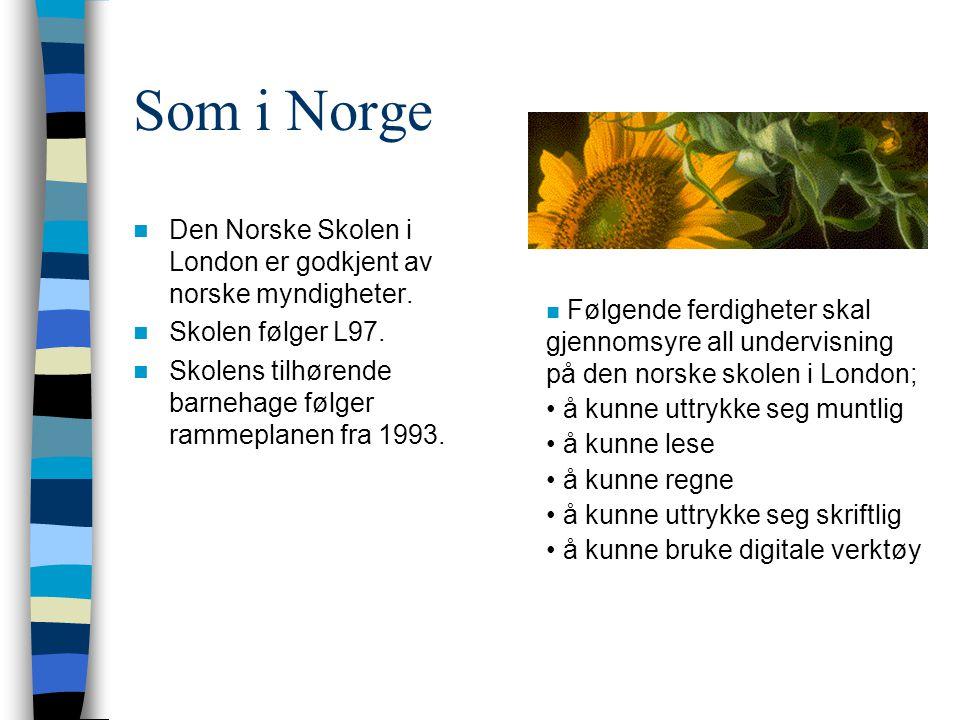 Som i Norge Den Norske Skolen i London er godkjent av norske myndigheter. Skolen følger L97. Skolens tilhørende barnehage følger rammeplanen fra 1993.