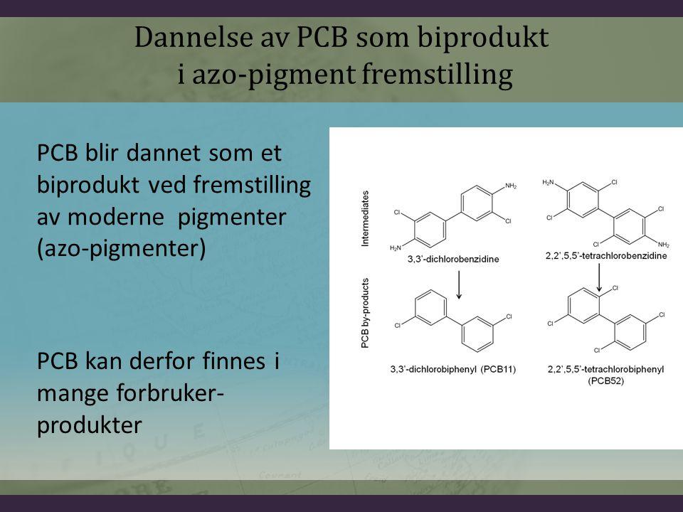 PCB blir dannet som et biprodukt ved fremstilling av moderne pigmenter (azo-pigmenter) PCB kan derfor finnes i mange forbruker- produkter Dannelse av