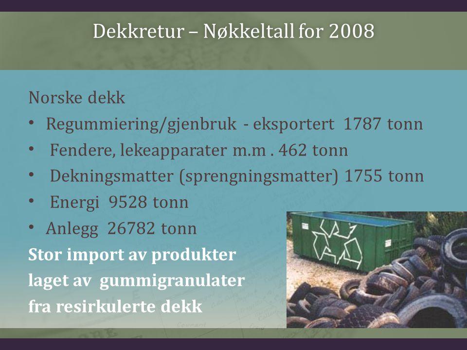 Dekkretur – Nøkkeltall for 2008Dekkretur – Nøkkeltall for 2008 Norske dekk Regummiering/gjenbruk - eksportert 1787 tonn Fendere, lekeapparater m.m. 46