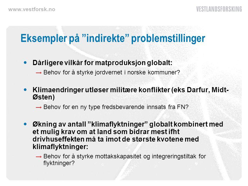 www.vestforsk.no Eksempler på indirekte problemstillinger Dårligere vilkår for matproduksjon globalt: →Behov for å styrke jordvernet i norske kommuner.