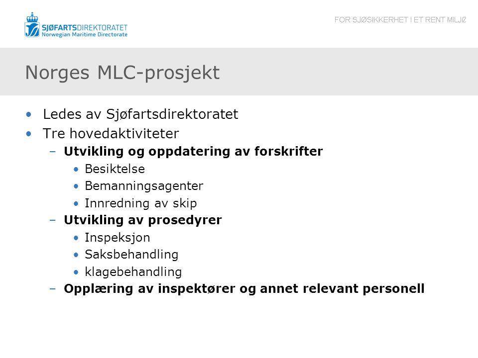 Norges MLC-prosjekt Ledes av Sjøfartsdirektoratet Tre hovedaktiviteter –Utvikling og oppdatering av forskrifter Besiktelse Bemanningsagenter Innrednin