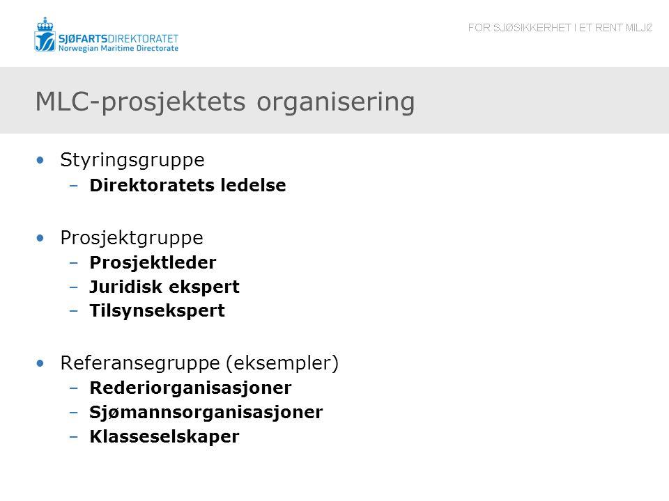 MLC-prosjektets organisering Styringsgruppe –Direktoratets ledelse Prosjektgruppe –Prosjektleder –Juridisk ekspert –Tilsynsekspert Referansegruppe (ek