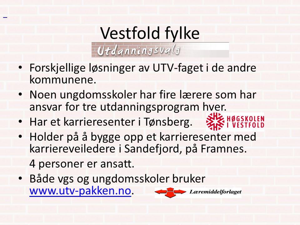 Vestfold fylke Forskjellige løsninger av UTV-faget i de andre kommunene. Noen ungdomsskoler har fire lærere som har ansvar for tre utdanningsprogram h