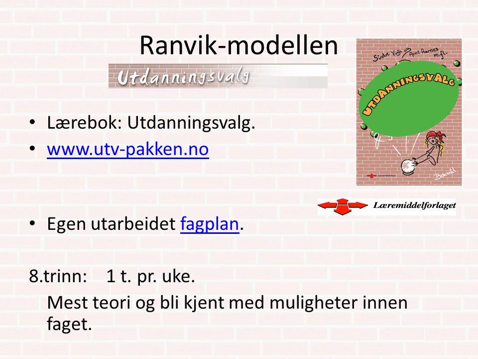 Ranvik-modellen Lærebok: Utdanningsvalg. www.utv-pakken.no Egen utarbeidet fagplan.fagplan 8.trinn: 1 t. pr. uke. Mest teori og bli kjent med mulighet