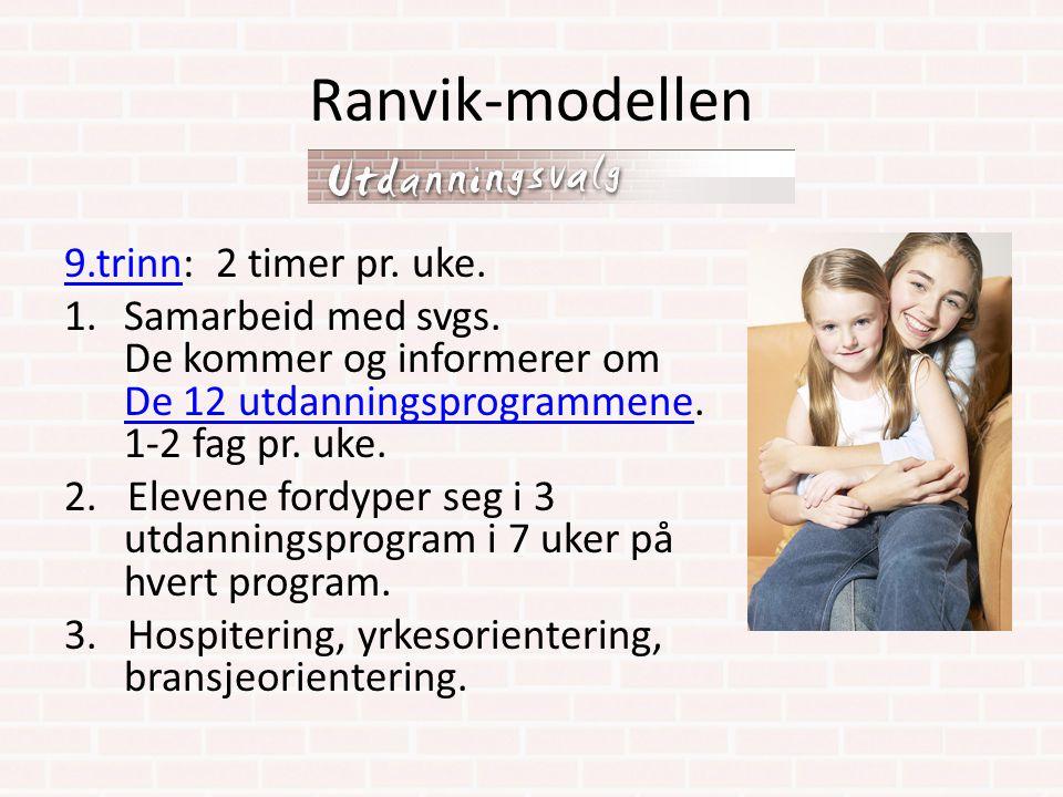 Ranvik-modellen 9.trinn9.trinn: 2 timer pr. uke. 1.Samarbeid med svgs. De kommer og informerer om De 12 utdanningsprogrammene. 1-2 fag pr. uke. De 12