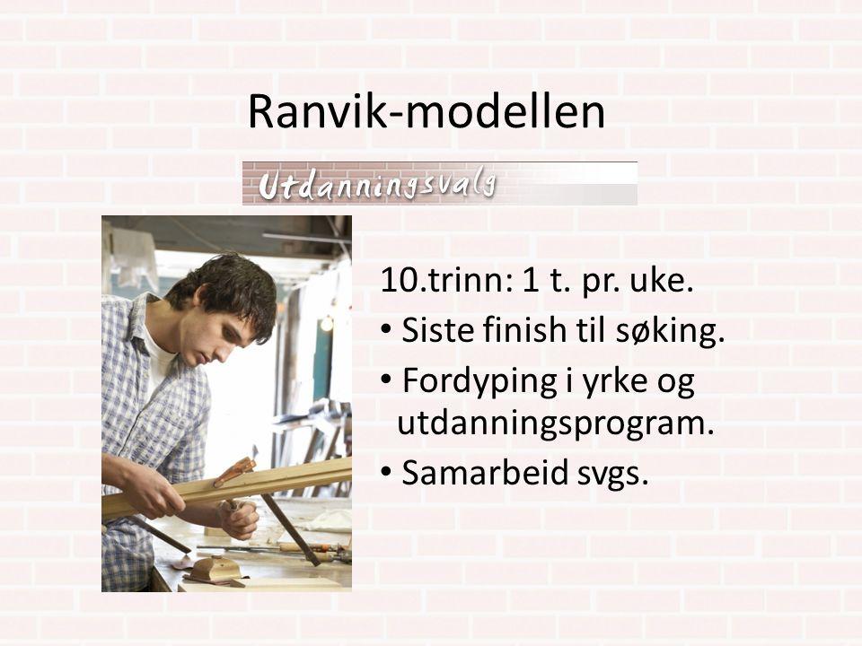 Ranvik-modellen 10.trinn: 1 t. pr. uke. Siste finish til søking. Fordyping i yrke og utdanningsprogram. Samarbeid svgs.