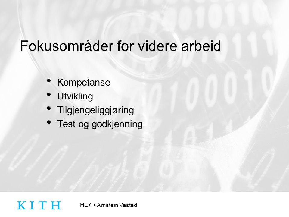 HL7 Arnstein Vestad Fokusområder for videre arbeid Kompetanse Utvikling Tilgjengeliggjøring Test og godkjenning