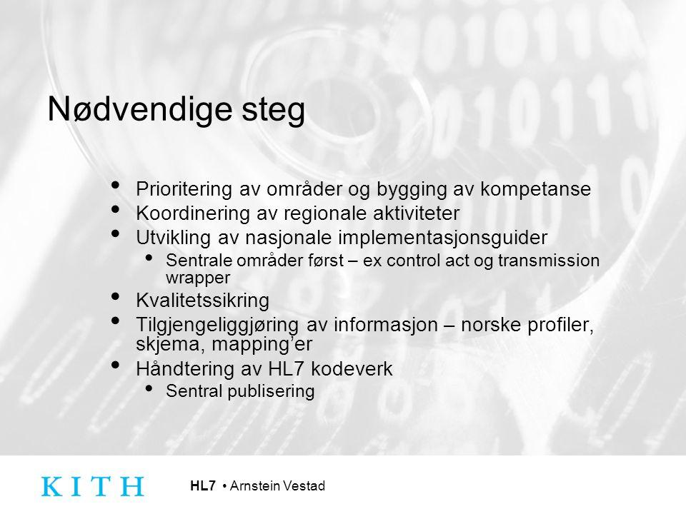 HL7 Arnstein Vestad Nødvendige steg Prioritering av områder og bygging av kompetanse Koordinering av regionale aktiviteter Utvikling av nasjonale impl