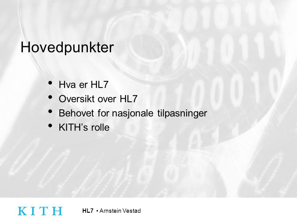 Hovedpunkter Hva er HL7 Oversikt over HL7 Behovet for nasjonale tilpasninger KITH's rolle