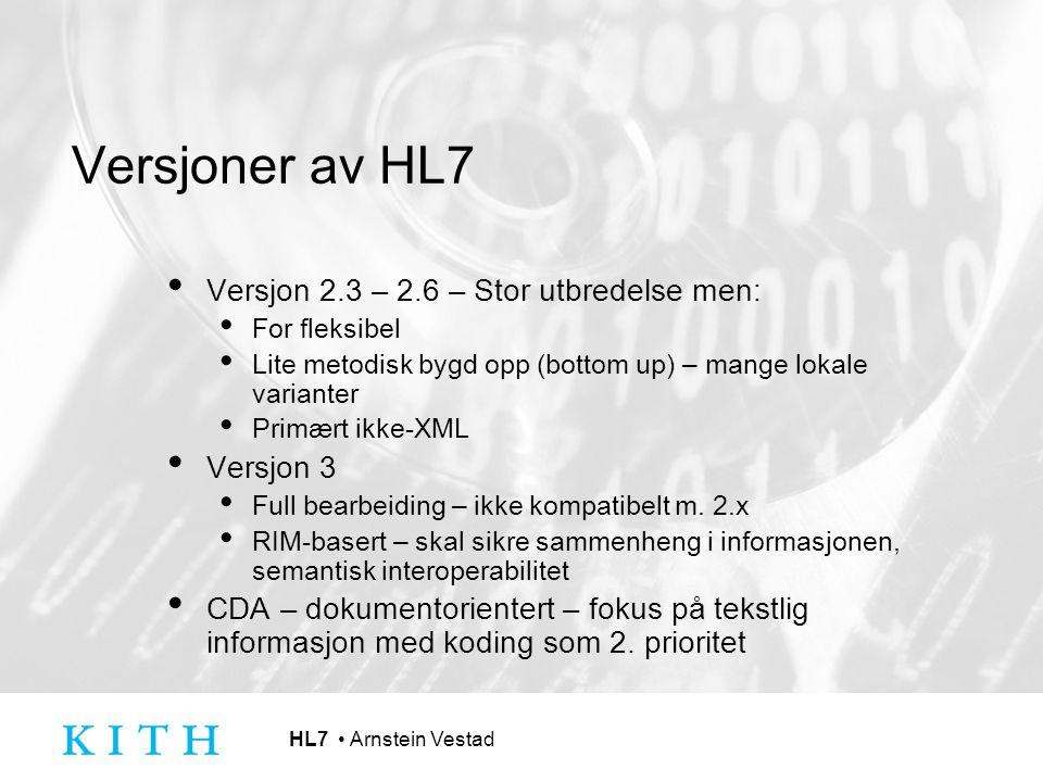 HL7 Arnstein Vestad Utbredelse av versjoner HL7 v 2.6 akkurat ferdig – 2.7 under veis 2.x: Bred markedsstøtte, aktiv deltagelse fra leverandører bra nok – virker v3 – 15 års utvikling, men primært større offentlige prosjekter (ex.