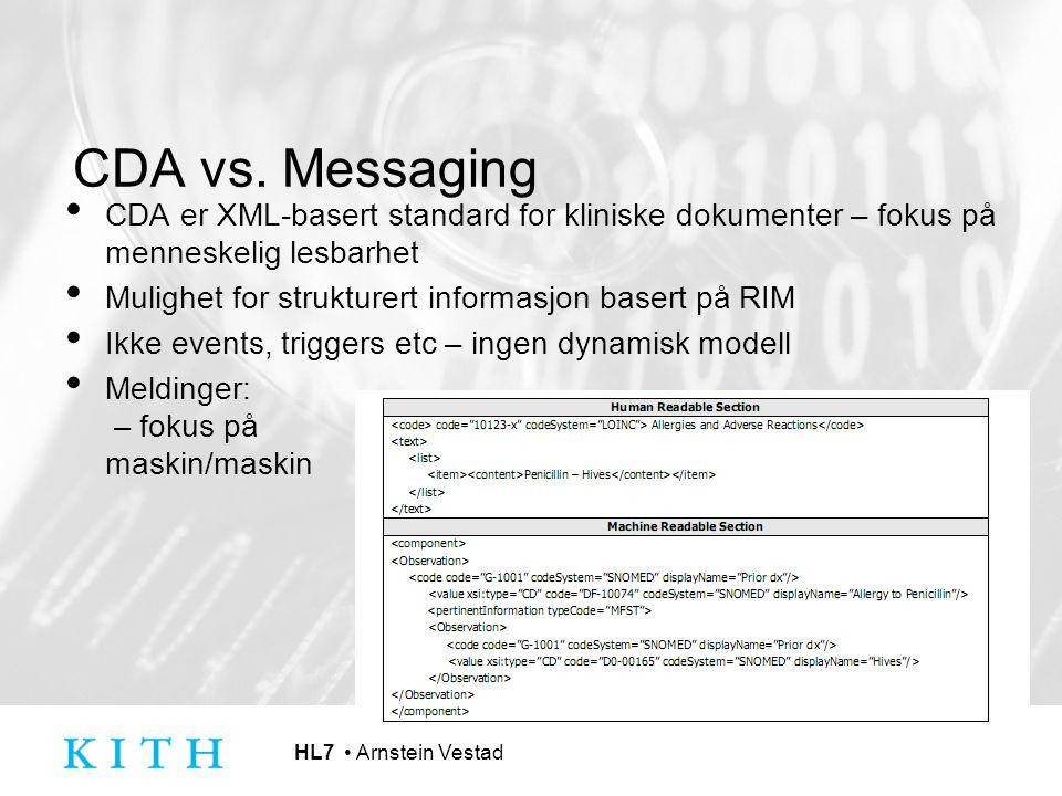 HL7 Arnstein Vestad CDA vs. Messaging CDA er XML-basert standard for kliniske dokumenter – fokus på menneskelig lesbarhet Mulighet for strukturert inf