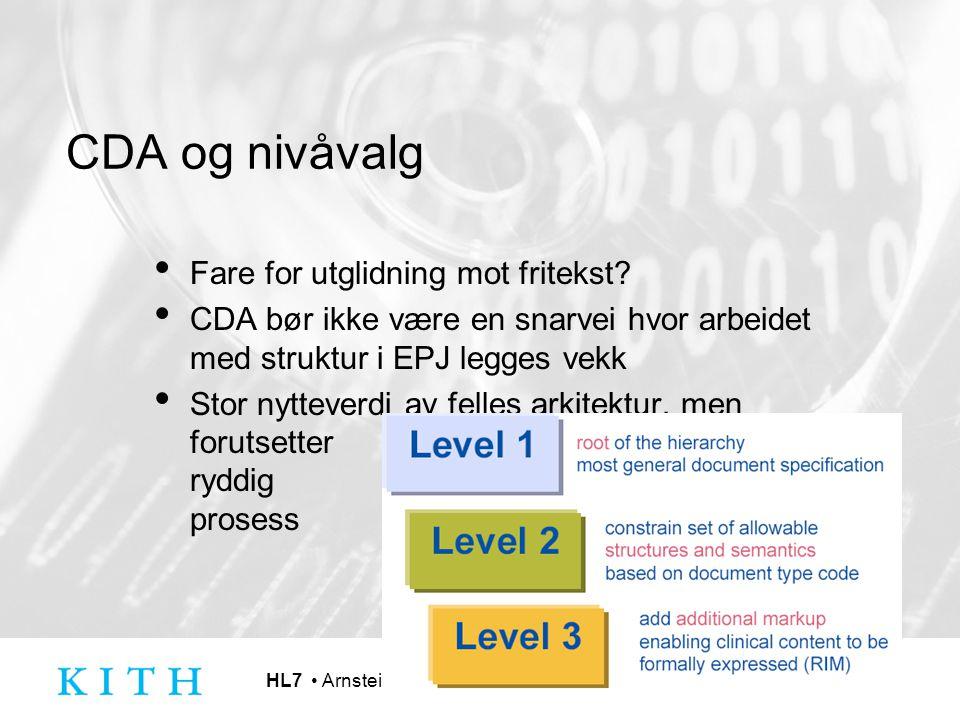 HL7 Arnstein Vestad CDA og nivåvalg Fare for utglidning mot fritekst? CDA bør ikke være en snarvei hvor arbeidet med struktur i EPJ legges vekk Stor n