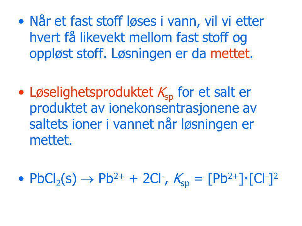 Vi kan beregne løseligheten av et salt ved hjelp av K sp, og omvendt beregne K sp ved hjelp av løseligheten.