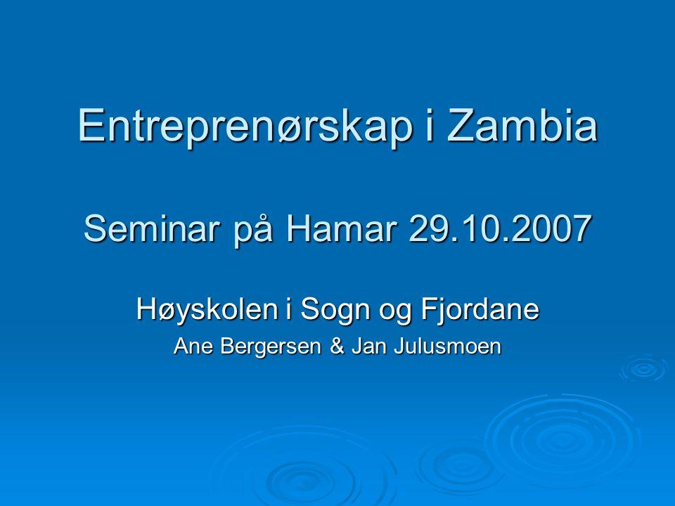 Entreprenørskap i Zambia Seminar på Hamar 29.10.2007 Høyskolen i Sogn og Fjordane Ane Bergersen & Jan Julusmoen