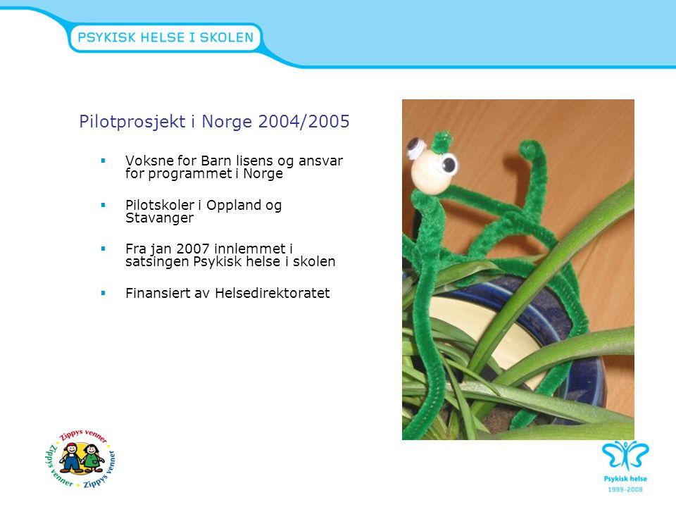 Pilotprosjekt i Norge 2004/2005  Voksne for Barn lisens og ansvar for programmet i Norge  Pilotskoler i Oppland og Stavanger  Fra jan 2007 innlemme