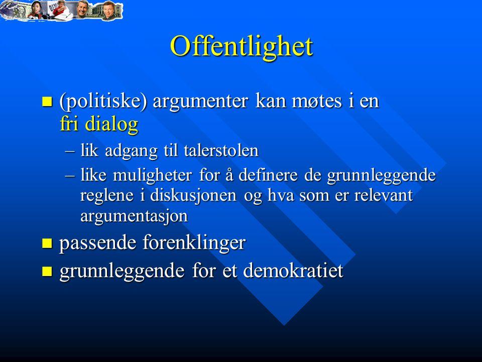Offentlighet (politiske) argumenter kan møtes i en fri dialog (politiske) argumenter kan møtes i en fri dialog –lik adgang til talerstolen –like mulig