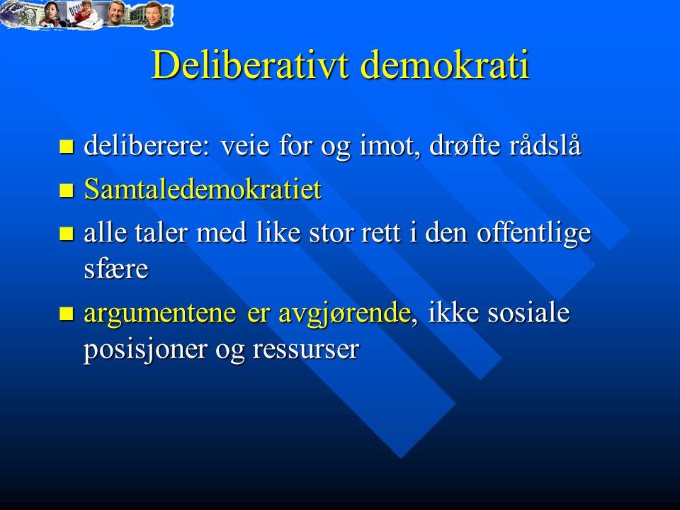 Deliberativt demokrati deliberere: veie for og imot, drøfte rådslå deliberere: veie for og imot, drøfte rådslå Samtaledemokratiet Samtaledemokratiet a