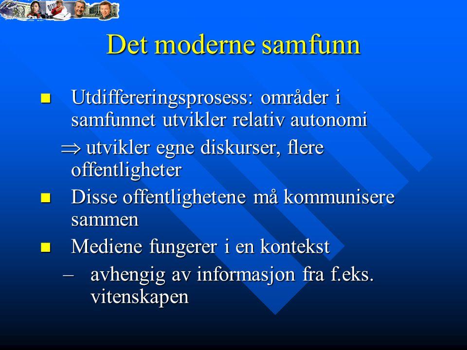 Det moderne samfunn Utdiffereringsprosess: områder i samfunnet utvikler relativ autonomi Utdiffereringsprosess: områder i samfunnet utvikler relativ a