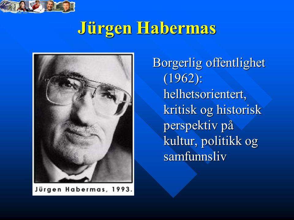 Jürgen Habermas Borgerlig offentlighet (1962): helhetsorientert, kritisk og historisk perspektiv på kultur, politikk og samfunnsliv