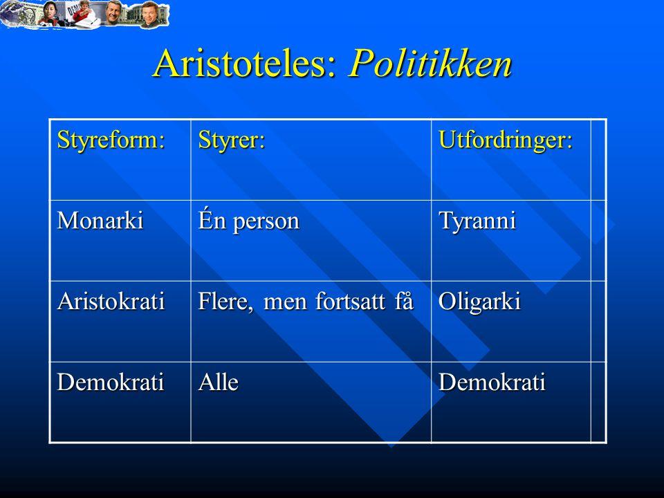 Aristoteles: Politikken Styreform:Styrer:Utfordringer: Monarki Én person Tyranni Aristokrati Flere, men fortsatt få Oligarki DemokratiAlleDemokrati