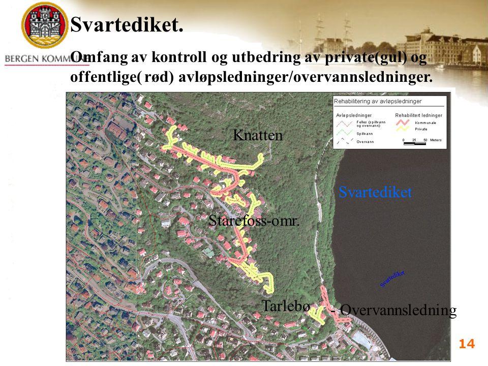 Vannforsyningsdagene 2005 Bergen 7.-9.juni 2005 i d kalland 14 Svartediket Tarlebø Knatten Starefoss-omr. Svartediket. Omfang av kontroll og utbedring