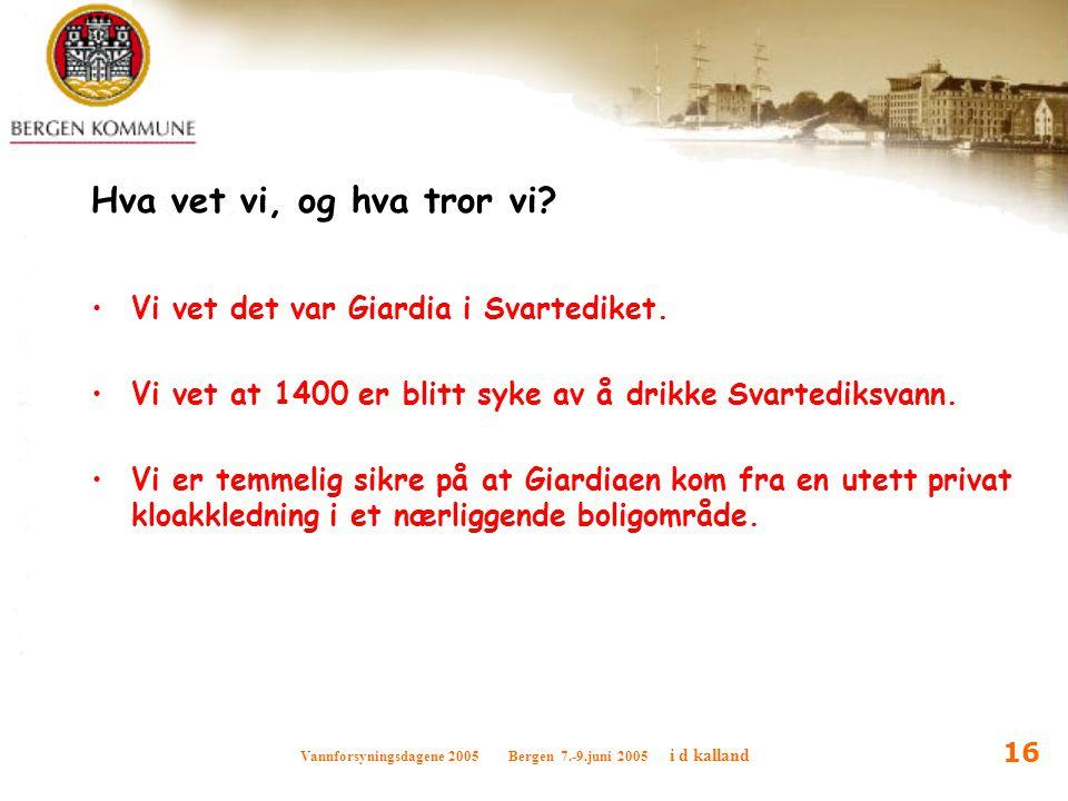 Vannforsyningsdagene 2005 Bergen 7.-9.juni 2005 i d kalland 16 Hva vet vi, og hva tror vi? Vi vet det var Giardia i Svartediket. Vi vet at 1400 er bli