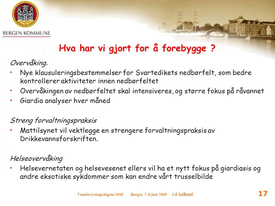 Vannforsyningsdagene 2005 Bergen 7.-9.juni 2005 i d kalland 17 Hva har vi gjort for å forebygge ? Overvåking. Nye klausuleringsbestemmelser for Svarte