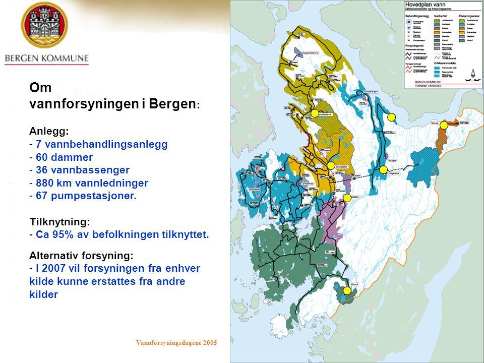 Vannforsyningsdagene 2005 Bergen 7.-9.juni 2005 i d kalland 4 Om vannforsyningen i Bergen : Anlegg: - 7 vannbehandlingsanlegg - 60 dammer - 36 vannbas