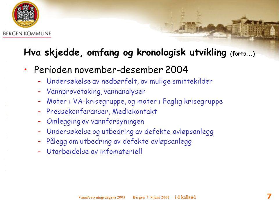Vannforsyningsdagene 2005 Bergen 7.-9.juni 2005 i d kalland 7 Hva skjedde, omfang og kronologisk utvikling (forts...) Perioden november-desember 2004