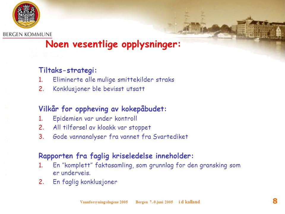 Vannforsyningsdagene 2005 Bergen 7.-9.juni 2005 i d kalland 8 Noen vesentlige opplysninger: Tiltaks-strategi: 1.Eliminerte alle mulige smittekilder st